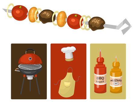 Barbecue home cooking cards or restaurant rarty dinner products bbq for grilling and kitchen equipment vector flat illustration. Barbecue kebab equipment symbols isolated Illustration