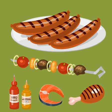 Barbecue home cooking or restaurant rarty dinner products bbq for grilling and kitchen equipment barbecue kebab equipment symbols isolated Illustration