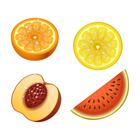 Ripe orange peach watermelon fruits 3d slices realistic organic dessert vector illustration. Citrus natural vitamin fresh juice dessert sweet food. Freshness vegan aroma breakfast