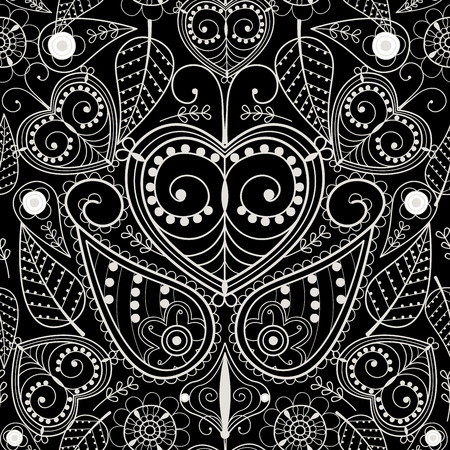 swirl: Floral mehendi pattern ornament vector illustration hand drawn henna asian textile style india tribal paisley ornate. Ethnic ornamental lace vintage mandala abstract textile