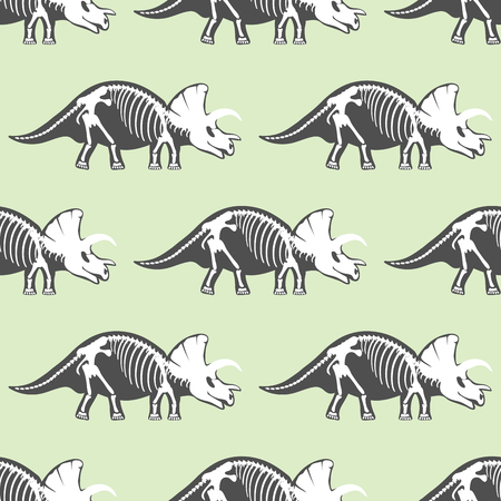 triceratops: Dinosaurs skeletons silhouettes seamless pattern on green background.