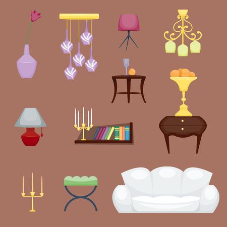 Furniture room interior design vector illustration.