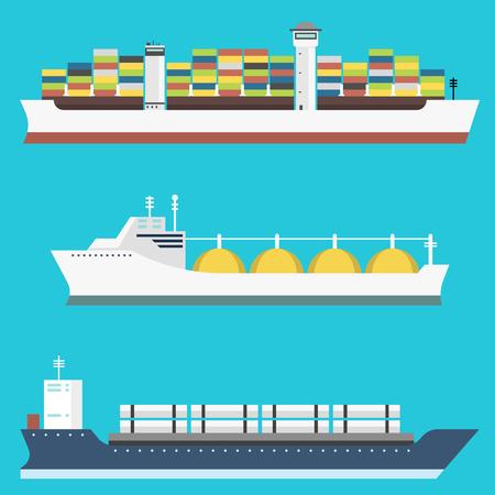 Reeks commerciële schepen van de leveringsvracht en tankers die van de de veerbootindustrieel goederen verschepen van de bulkcasertrein de industriële goederen zijaanzicht op de vectorillustratie van de achtergrondtankersboot wordt geïsoleerd Stock Illustratie