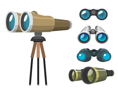 Professional camera lens binoculars glass look-see spyglass optic device camera digital focus optical equipment vector illustration. Lorgnette night-vision technology look-see instrument. Çizim