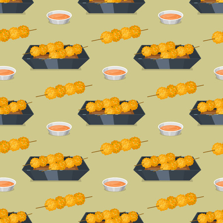 Chinese tradition food dish dumpling delicious cuisine seamless pattern healthy dinner meal asia gourmet china lunch breakfast cooked vector illustration. Spicy meat chopsticks pork soup plate dish.
