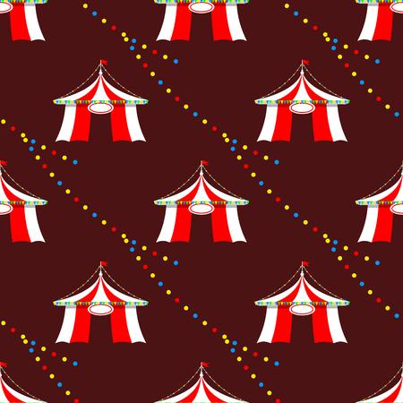 Circus tent marquee with stripes and flags 카니발 원활한 패턴 엔터테인먼트 오락 요소 플랫 벡터입니다. 엔터테인먼트 레드 돔 카니발 파크 경기장 축 하합니다. 스톡 콘텐츠 - 87615550