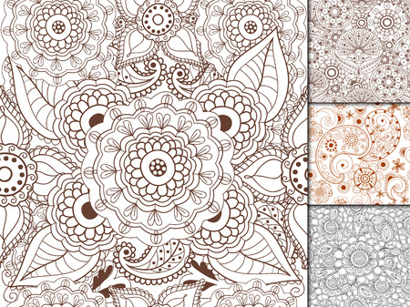 Floral mehendi pattern ornament vector illustration hand drawn henna pattern india tribal paisley background Stock Vector - 87720708