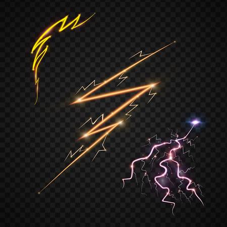 Blitzen Sie realistische realistische Blitze mit Transparenz für Designgewittermagie und helle Lichteffektvektorillustration. Natürliches Blitzsturmschlag realistisches Licht 3d Standard-Bild - 87615555