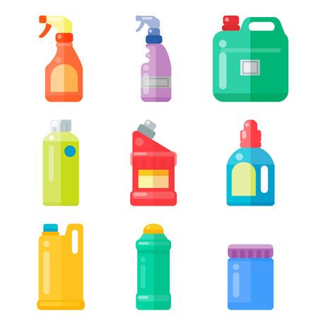 Grupo de botellas de artículos domésticos domésticos de limpieza y limpieza de limpieza de plástico líquido de limpieza de líquido de la botella de líquido de la botella de spray de vectores ilustración . Foto de archivo - 87615557