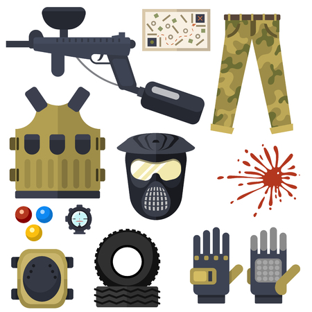 Set van paintball club symbolen pictogrammen Stock Illustratie