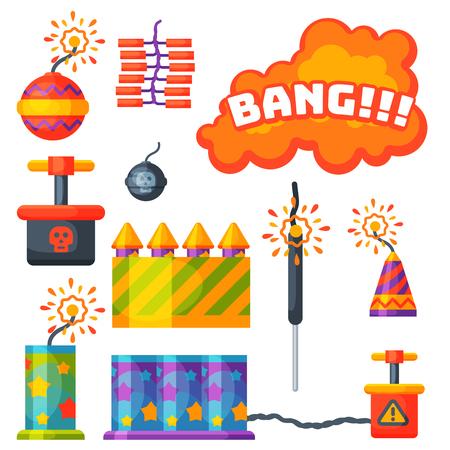 花火花火ロケットとフラッパーの誕生日パーティー  イラスト・ベクター素材