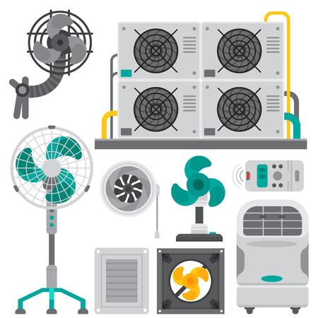 Airconditioner airlock systemen apparatuur ventilator conditioning klimaat ventilator technologie temperatuur koele vectorillustratie Stock Illustratie