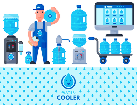 Water delivery service man character in uniform and different water bottle vector elements. Illustration