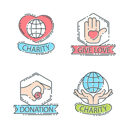 Donate money set log ooutline icons help icon donation contribution charity philanthropy symbols humanity support vector. Contribute design sign give money contribution giving. Çizim