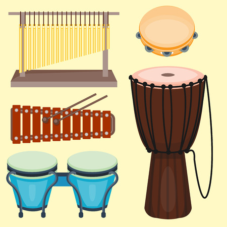 Musical drum wood rhythm music instrument series set of percussion vector illustration Stock fotó - 87720725