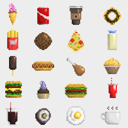 Set of pixel icons fruit sweet sign. Fast food computer design symbol retro game web graphic. Vector illustration restaurant pixelated element. Stock Illustratie