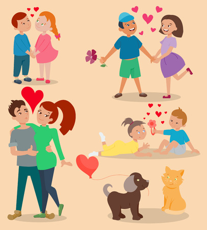 Happy smiling couple in love vector characters togetherness. Romantic people together relationship. Attractive lifestyle beautiful happiness human illustration. Illustration