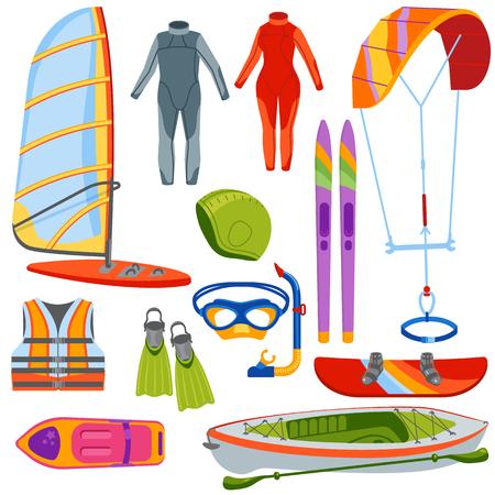 Fun water extreme sport kiteboarding, surfer., sailing leisure sea activity summer recreation extreme vector illustration. Surfing nature kayaking tools.