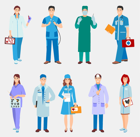 Vector illustration of a man and woman in blue coat. Flat style different doctors characters. Professional cartoon pediatrician medical human worker. Ilustrace