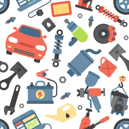 Car service repair parts vector icons vehicle and automobile equipment seamless pattern background