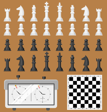 Chess board and chessmen game shapes leisure concept white and black piece competition vector Banco de Imagens - 87730339
