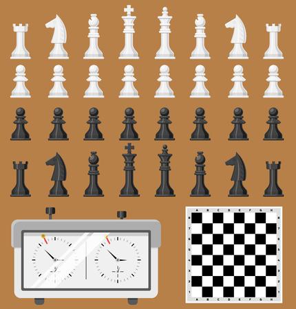 Schaakbord en schaakstukken spel vormen vrijetijdsbesteding concept wit en zwart stuk competitie vector Stockfoto - 87730339