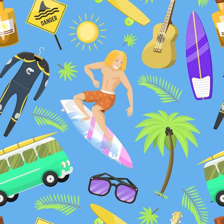 Surfing active water sport surfer summer time beach activities man windsurfing jet water wakeboarding seamless pattern background