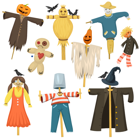 Garden ugly terrible fabric scarecrow fright bugaboo dolls on stiick and toy character dress from farm rag-doll vector illustration.