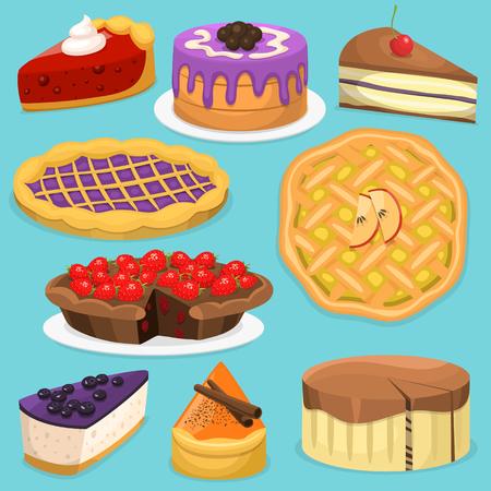 Birthday celebration cream cake pie vector illustration holidays food collection