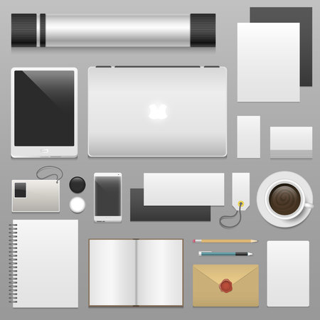 Corporate identity blank template set business stationery mockup realistic 3d top view vector illustration Ilustracja