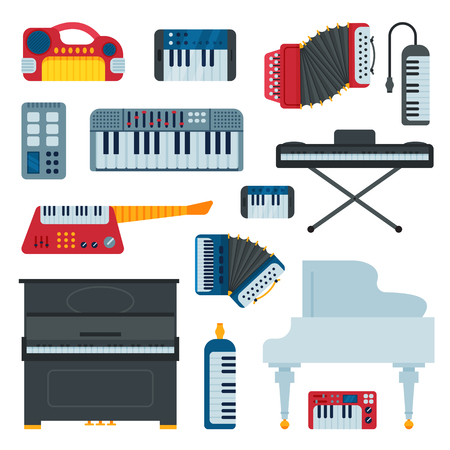 Keyboard musical instruments musician equipment and orchestra piano composer electronic sound vector illustration isolated on white Illusztráció