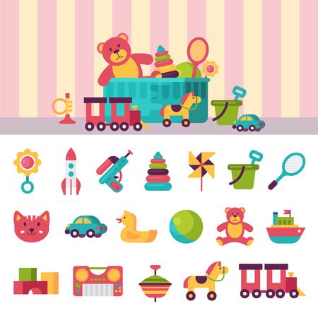 Volledige kind speelgoed in vakken voor kinderen spelen kindertijd babyroom container vectorillustratie
