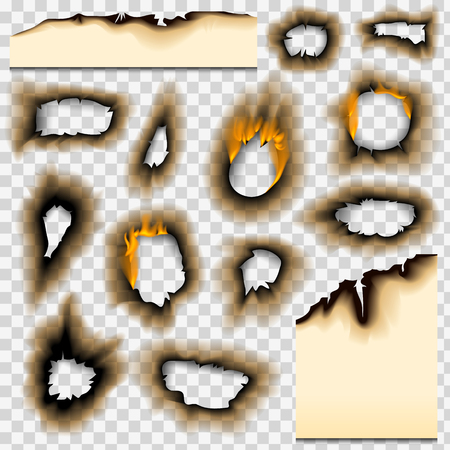 Burned paper realistic fire flame isolated page sheet torn ash vector illustration Çizim