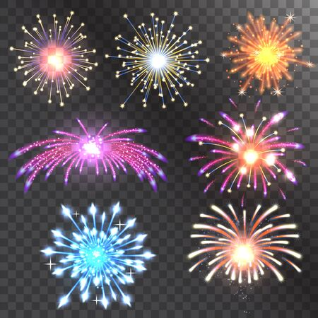 Firework vector illustration holiday event explosion light festive party