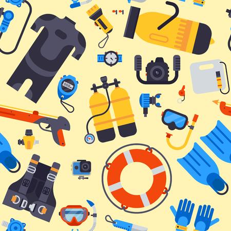 Spearfishing scuba diving onderwater zee duiker apparatuur vector professionele gereedschappen naadloze patroon achtergrond Stock Illustratie