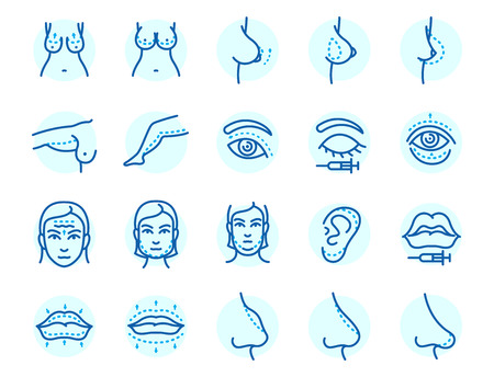 Plastic surgery body parts icons