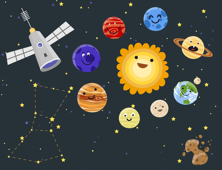 Solar system space planets design