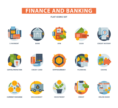 Banking money finance services icons set