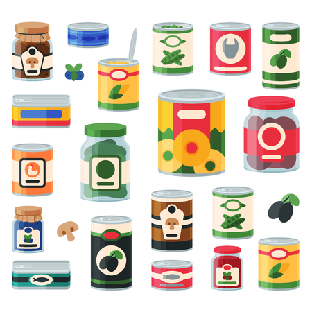 Canned goods food set Vectores