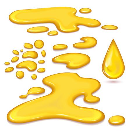 to trickle: Set of orange honey drops Illustration