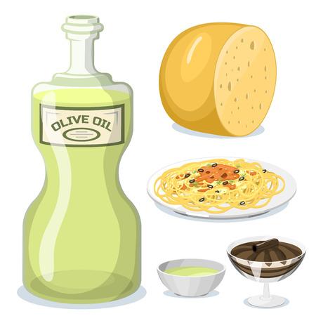 漫画のイタリア食品料理イラスト