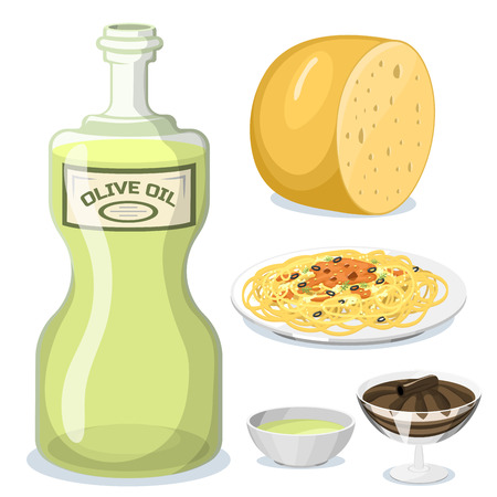 Cartoon Italy food cuisine illustration Illustration