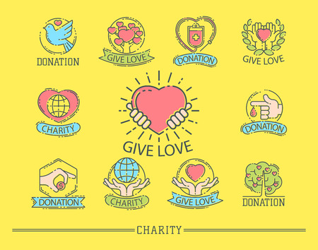 Donate money set logo icons help icon donation contribution charity philanthropy symbols humanity support vector Stok Fotoğraf