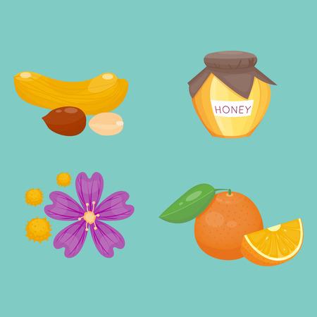 Allergy symbols disease healthcare food viruses health flat illness allergen symptoms disease information vector illustration.