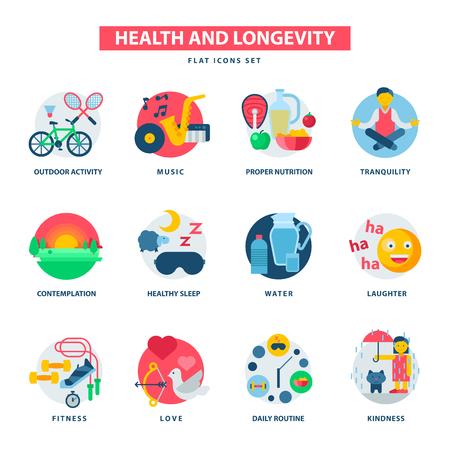 Concept de santé et de la longévité icônes activité moderne durabilité vecteur vie naturelle saine vie produit contemplation illustration de la nutrition appropriée. Qualité quotidienne d'endurance kidness kidness. Banque d'images - 87673791