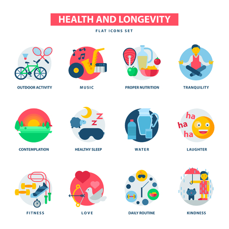 Health concept and longevity icons modern activity durability vector natural healthy life product contemplation proper nutrition illustration. Daily routine kidness endurance quality.