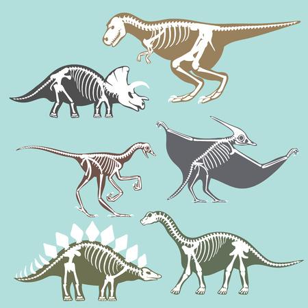 공룡 해골 실루엣 설정 화석 뼈 tyrannosaurus 선사 시대 동물 및 쥬라기 몬스터 프레데터 디노 벡터 플랫 그림입니다.