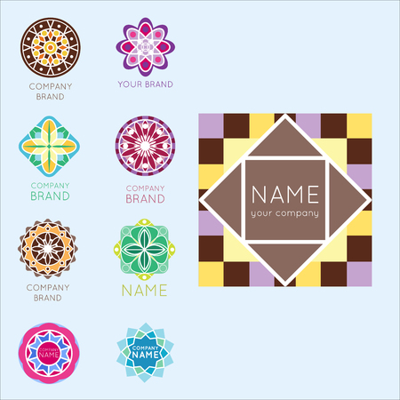 Abstract triangular polygonal shape kaleidoscope geometry company brand logo badge template circle decorative vector icon.. Oriental floral indian round abstraction ethnic mandala vintage motive. Stock Vector - 87679914