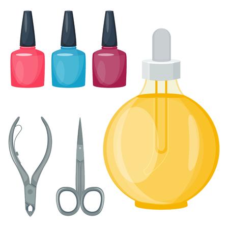 Manicure voet en hand vingers instrumenten ingesteld op witte achtergrond bovenaanzicht. Hygiëne handverzorging pedicure salon pincet vingernagel. Mode persoonlijke cosmetica apparatuur vector.