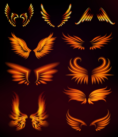 Flame bird fire wings fantasy feather burning blaze fly blazing danger flare glow fiery burn hot art vector illustration on black. Heat phoenix fantasy fire feather.
